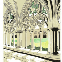 Salisbury Cathedral Lino Print Mixed Media