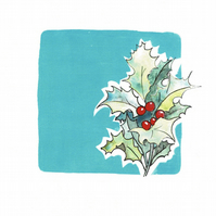 Card - December, Blue Topaz and Holly from my mixed media piece.