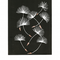 Dandelion Wishes Limited Edition Reduction Lino Print