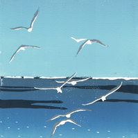 Reduction Lino Print - Seagulls