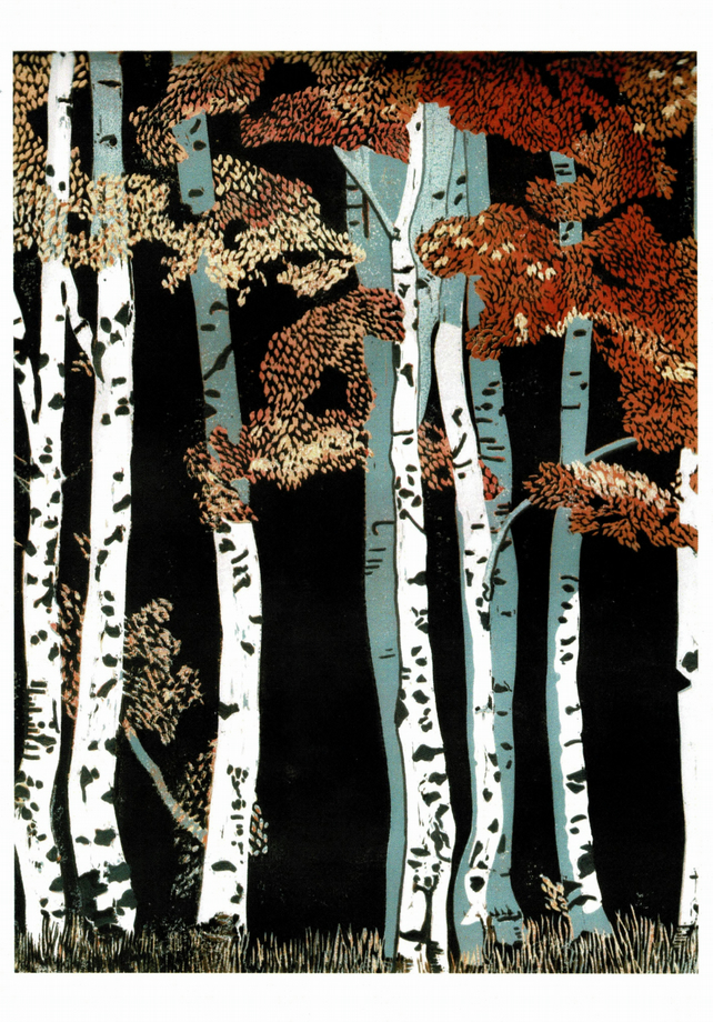 Card - Autumn Birches, from my original Reduction Lino Print