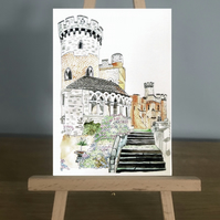 Card - Devizes Castle from my Line and Wash painting