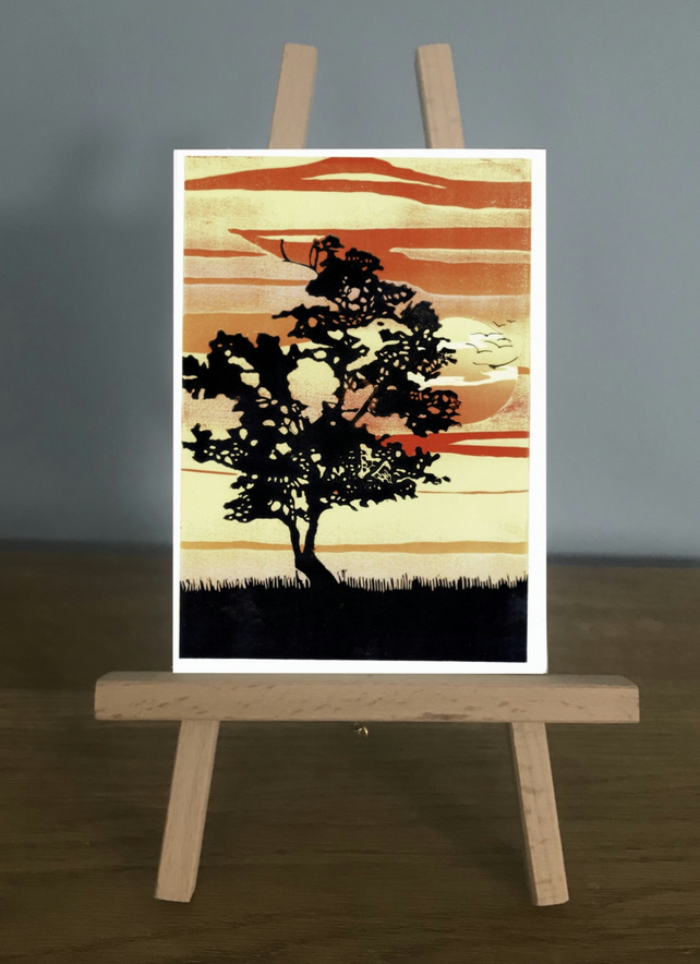 Blank Card - Lone Tree at Sunset, from an original reduction Lino Print
