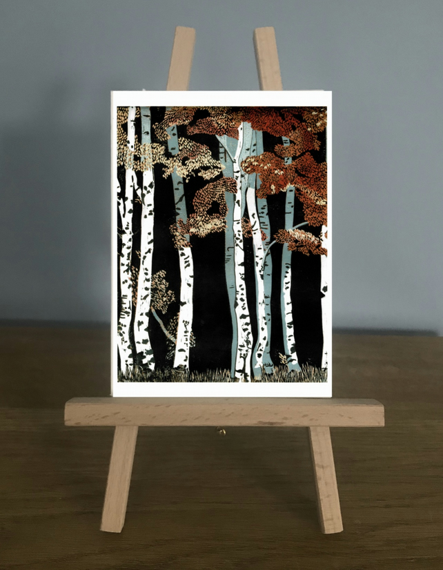 Blank Card - Autumn Birch Trees, from my original Reduction Lino Print