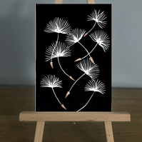 Blank Card - Dandelion seed heads blowing around