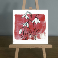 Blank Card, January - Garnet and Snowdrop, from my original mixed media piece.