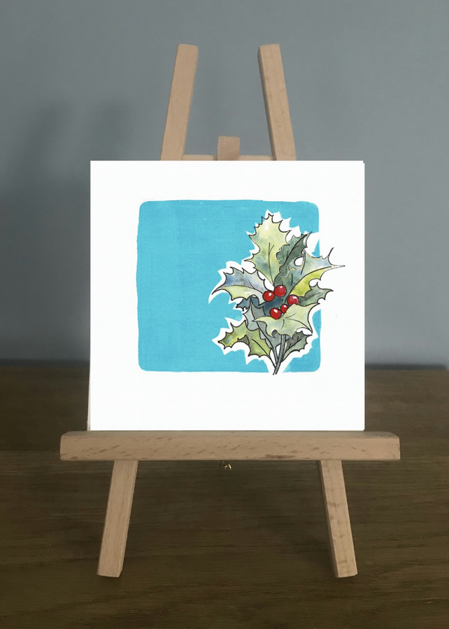 Blank Card - December, Blue Topaz and Holly.