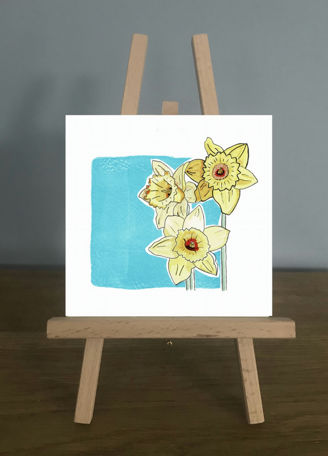 Card, March - Aquamarine and Daffodils