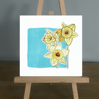 Blank Card, March - Aquamarine and Daffodils