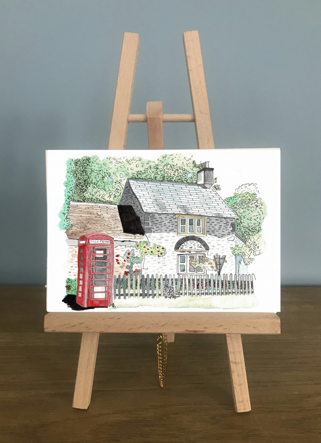 Blank Card - Country Cottage with a red telephone box