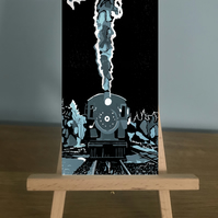 Blank Card -  An image of a Steam train from a reduction Linocut