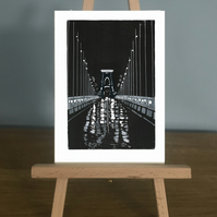Blank Card - Clifton Suspension Bridge on a rainy night