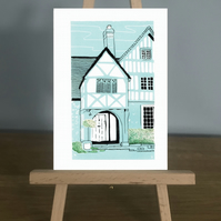 Blank Card - Lacock Cottage (a country cottage), from my original Lino Print