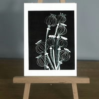 Blank Card - Poppy Seed Heads from my original reduction Lino Print