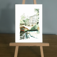 Blank Card - A mill building on the side of a river from my watercolour painting