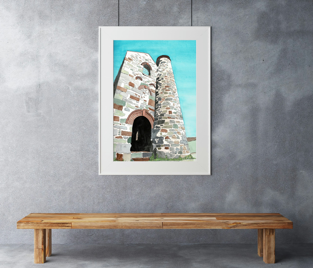Tin Mine - Limited edition print from a watercolour painting.