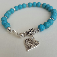 Boho style Turquoise gemstone bracelet with Tibetan silver heart charm