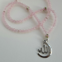 Rose Quartz necklace tasbih 99 beads with lamp glass work beads & Allah pendant
