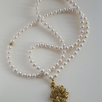 White Swarovski crystal pearl necklace tasbih with Tibetan gold plate pendant