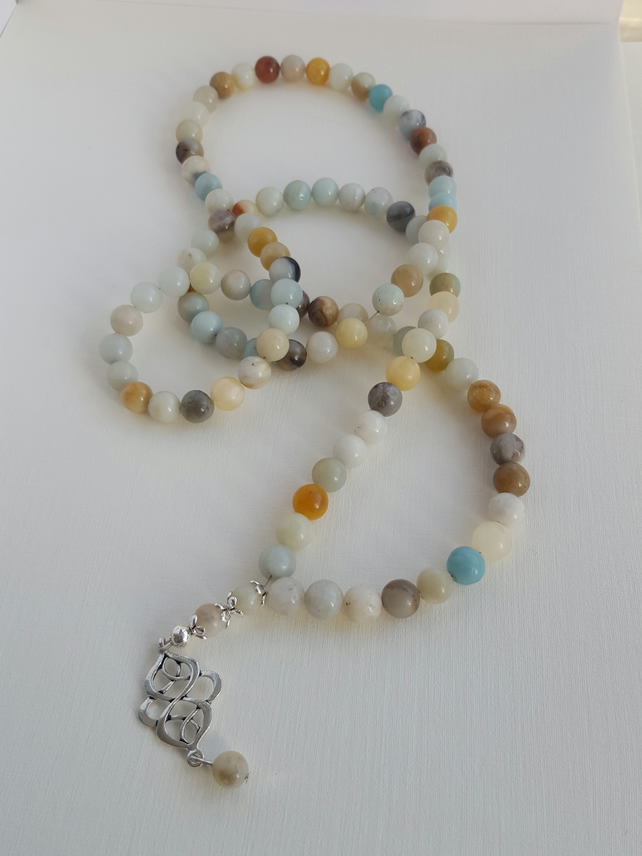 Natural Amazonite gemstone necklace with Tibetan silver pendant