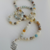 Natural Amazonite gemstone necklace tasbih with Tibetan silver pendant. 99 beads