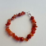 Red Carnelian chip beads and red Agate stone beads with lobster clasp