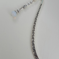Silver plate bookmark with Moonstone dangle