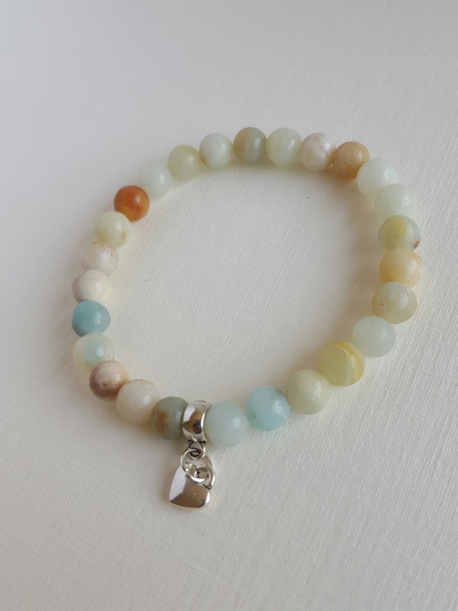 Pretty Little Amazonite gemstone bracelet with little heart. Stretchable.