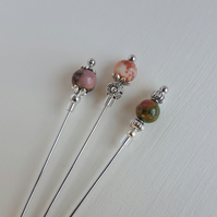 Down To Earth Gemstone Hijab Pins. Hat Pins. Lapel Pins. Scarves Pins. Shawl Pin