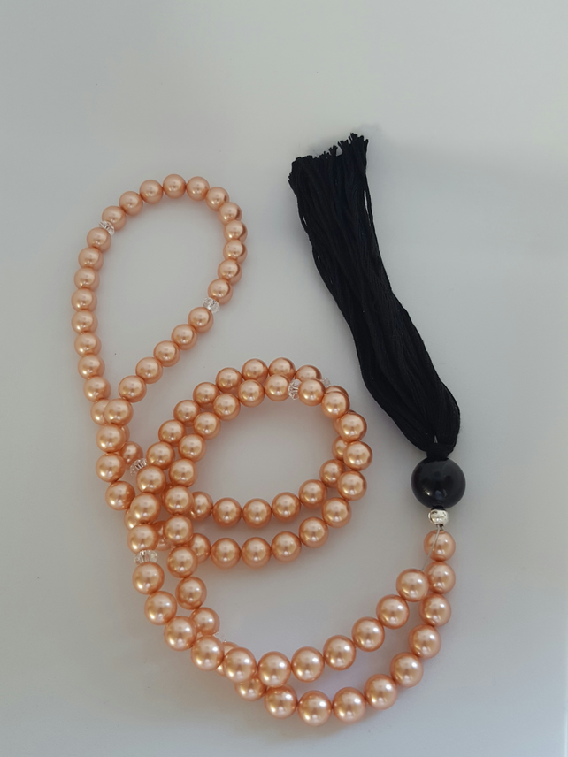 Swarovski Crystal Pearl Tasbih. Praying Bead. Misbaha. 99 Beads. in Rose Peach