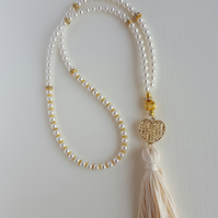 99 Beads Tasbih. Swarovski White Crystal Pearls. Praying Bead. Misbaha