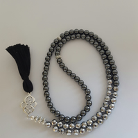 Silver Metallic and Grey Hematite Gemstone Tasbih. Praying bead. 99 Beads