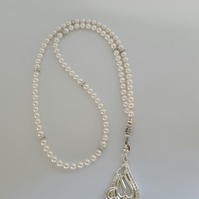 Swarovski White Crystal Pearl Tasbih 99 Beads. Praying Bead. Misbaha