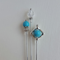 Ocean Blue Hat Pin Set. Hijab Pins. Turquoise gemstone and Swarovski Crystal