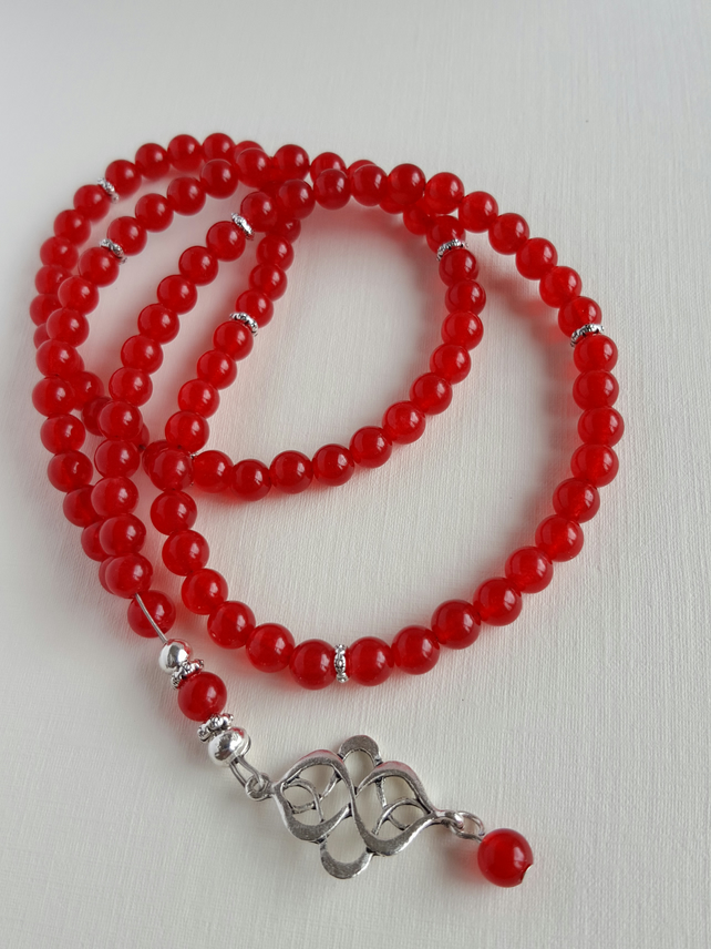 99 Beads Red Ruby Necklace. Tasbeeh. Tasbih. Misbaha. Mala. Praying Beads