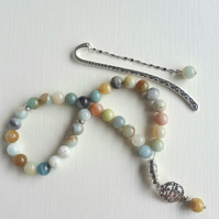 Amazonite Tasbih Gift Set. 33 Praying Beads with A Bookmark