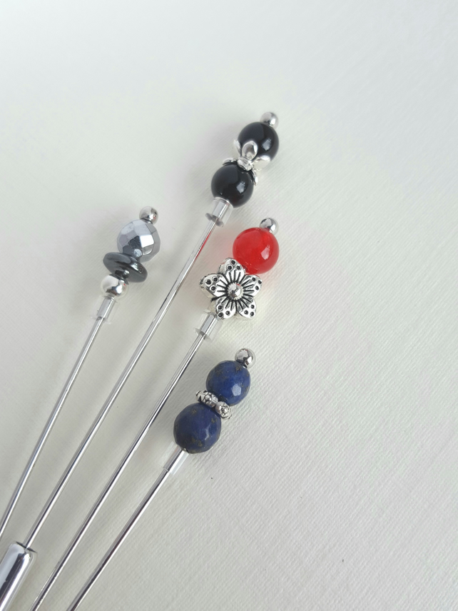 Primary color set of long stick pins for hats, hijabs, lapels, scarves, shawls