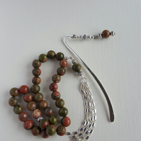 Unakite 33 bead tasbih and one bookmark gift set