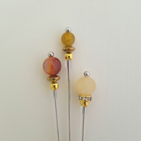 Trio hat pins in amber and gold. Hijab pins. Lapel pins. Quilting pins