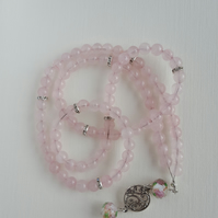 Rose Quartz Necklace. Praying Beads. Tasbeeh. Misbaha.