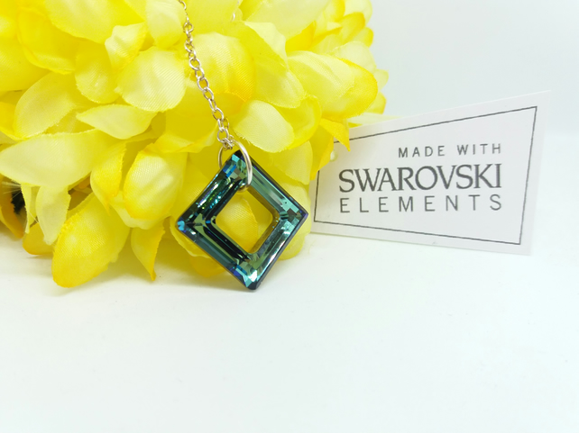 SWAROVSKI Crystal Bermuda Blue Square Ring Sterling Silver Necklace. 18 inches