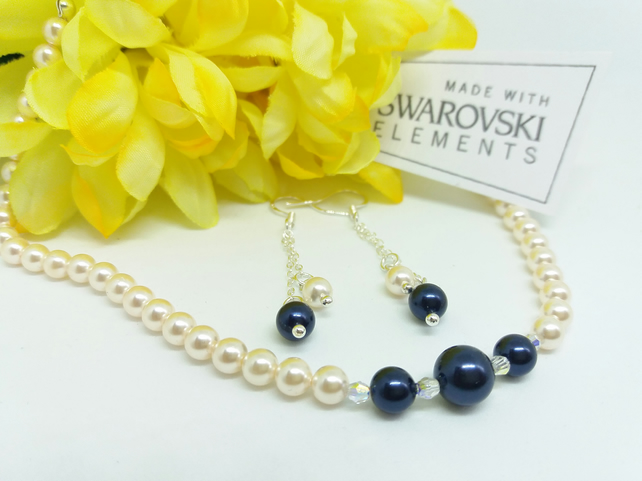 Handmade Night Blue & Cream Rose Swarovski Pearl Necklace and Earrings set.