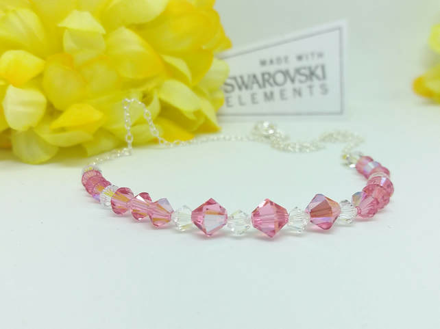 Sterling Silver SWAROVSKI Rose AB & Clear Crystal Necklace. Handmade. Gift.
