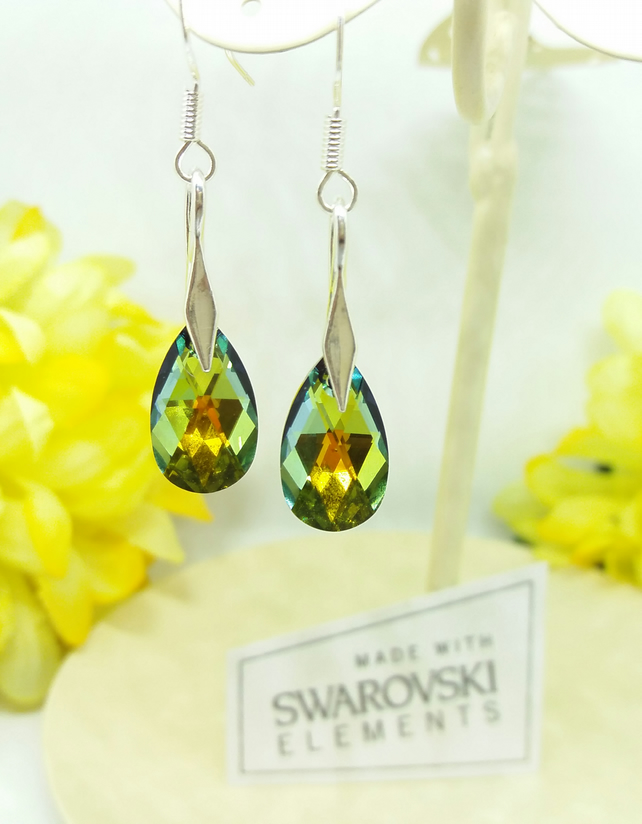 Sterling Silver drop Earrings with Swarovski Sahara Pear shaped Crystal. Gift
