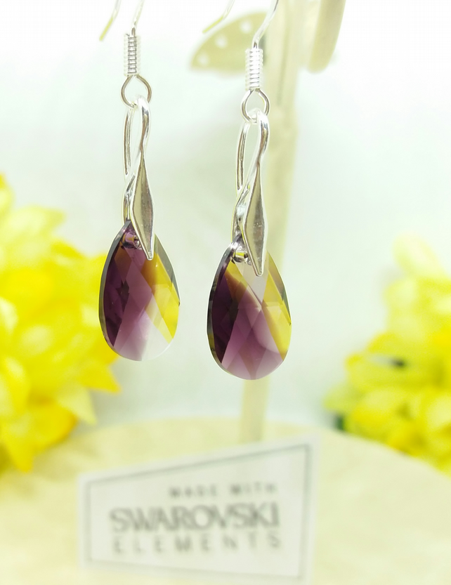 Sterling Silver Earrings with Swarovski Amethyst Blend Pear Shaped Crystal. Gift