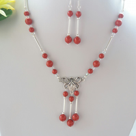 Silver Plated Necklace and Earrings set with Swarovski Red Coral Pearls. Gift