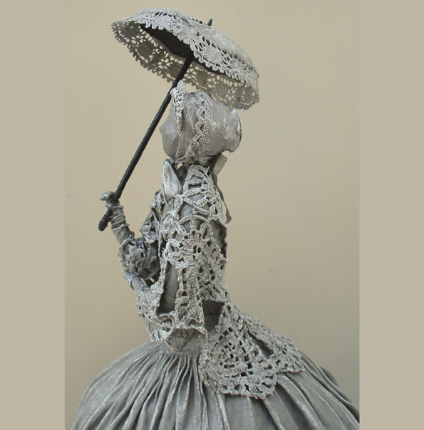 Lady in Crinoline Dress with a Parasol, Outdoor Garden Sculpture