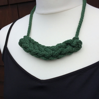 Knitted Green Cotton Woven Necklace with Tie Fastening