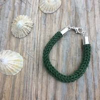 Green Cotton Knitted Bracelet with Silver Plated Fastening