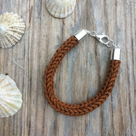 Toffee Cotton Knitted Bracelet with Silver Plated Fastening